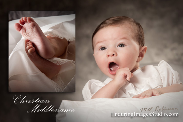 Christening, Baptism portrait photographer works in the photography studio or on location