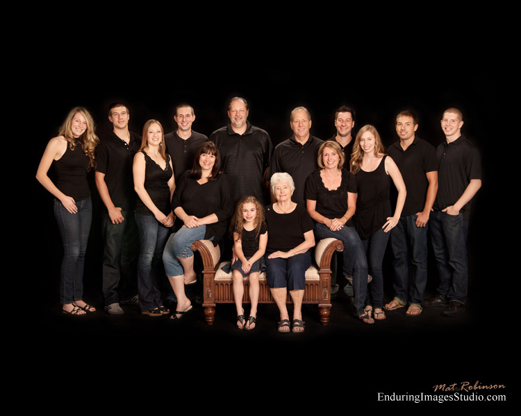 Large indoor family portrait - large group portrait - taken indoors at our Denville Photography Studio, Morris County, NJ